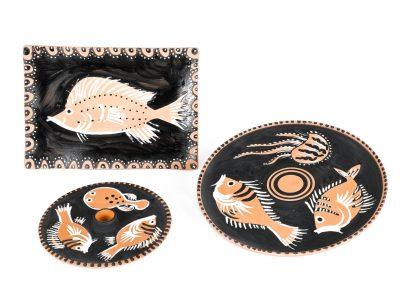 Piatti in ceramica. Lavoro ispirato alla collezione del Museo Archeologico di Capua.